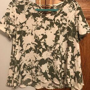 Lush Short Sleeve Blouse-Beautiful Green